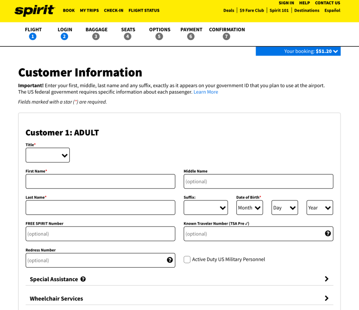 spirit airlines booking 4