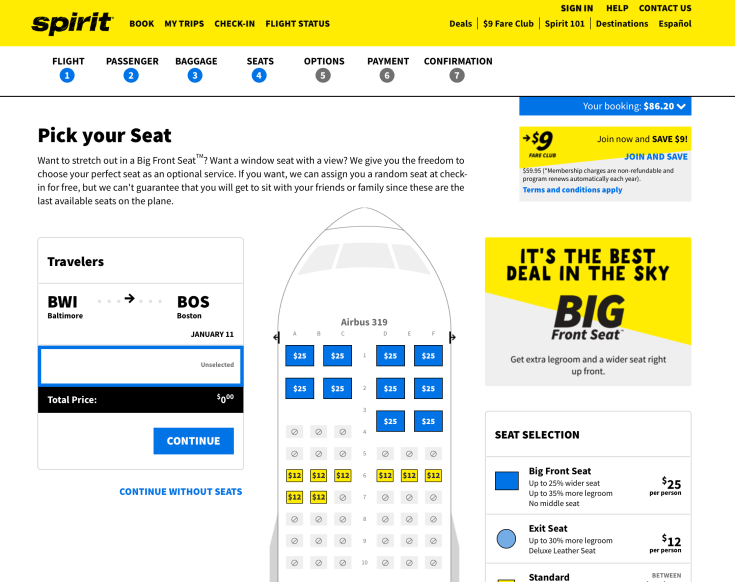 spirit airlines booking 8