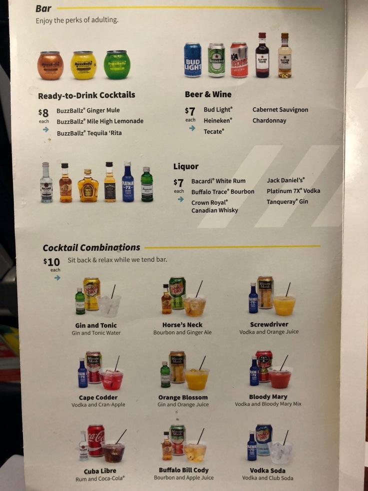 spirit airlines soft menu drinks