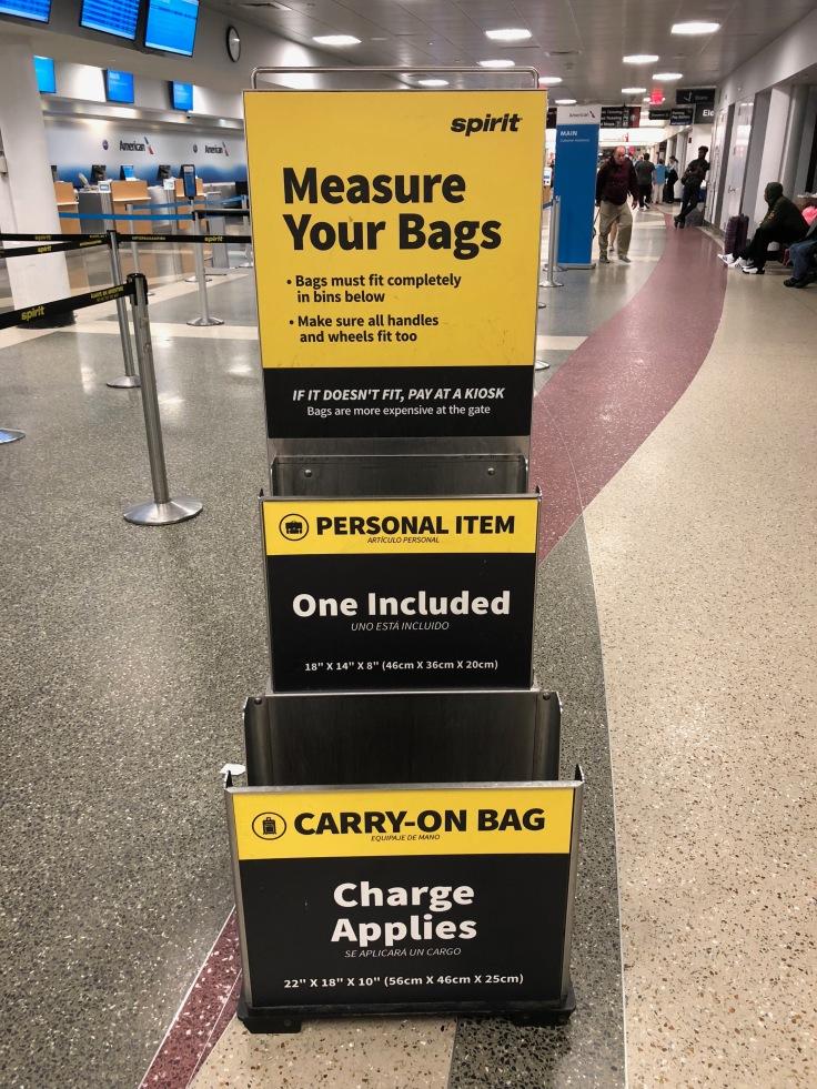 spirit airlines airport bag measurements