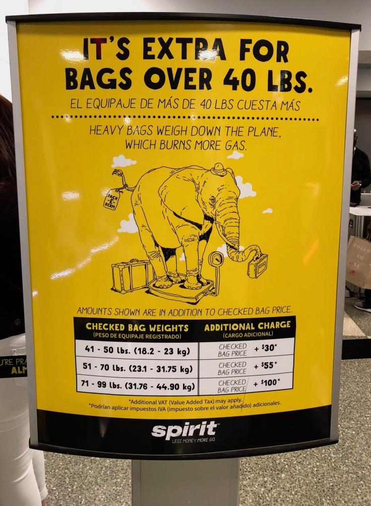 spirit airlines airport bag pricing
