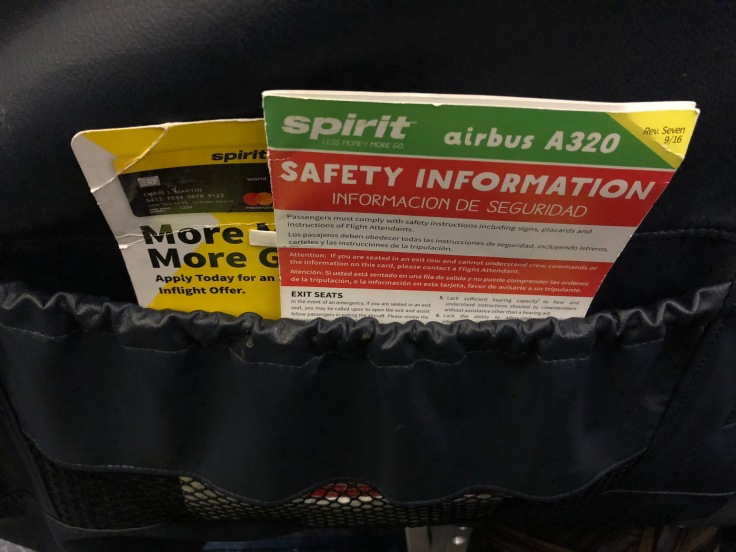 spirit airlines hard big front seat literature pocket
