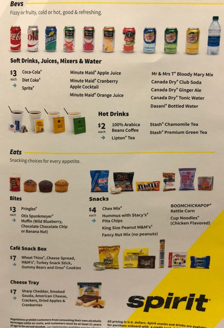 spirit airlines soft menu extended