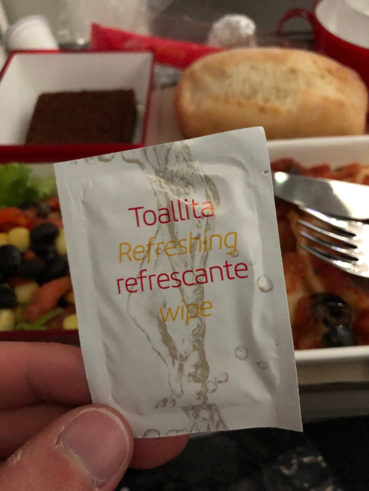 2019 iberia premium economy 06 01 dinner refreshing towel