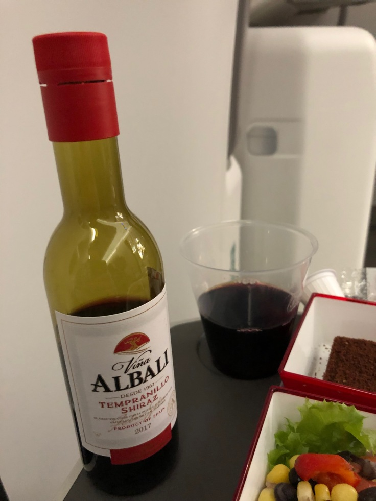 2019 iberia premium economy 06 01 dinner wine poured