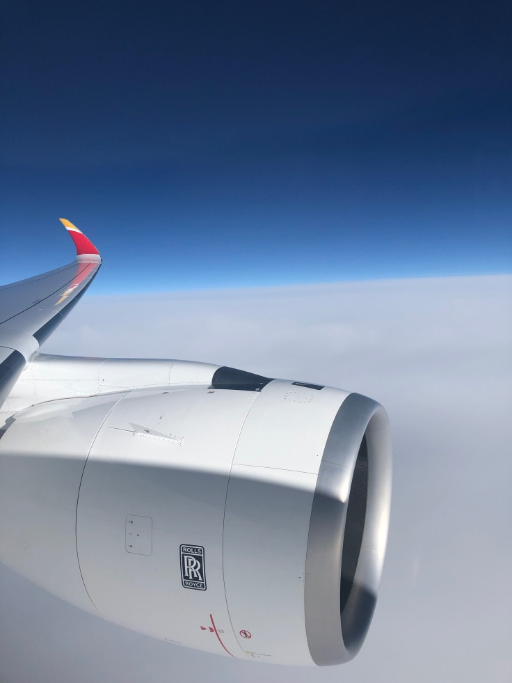 2019 iberia premium economy 08 engine above the clouds