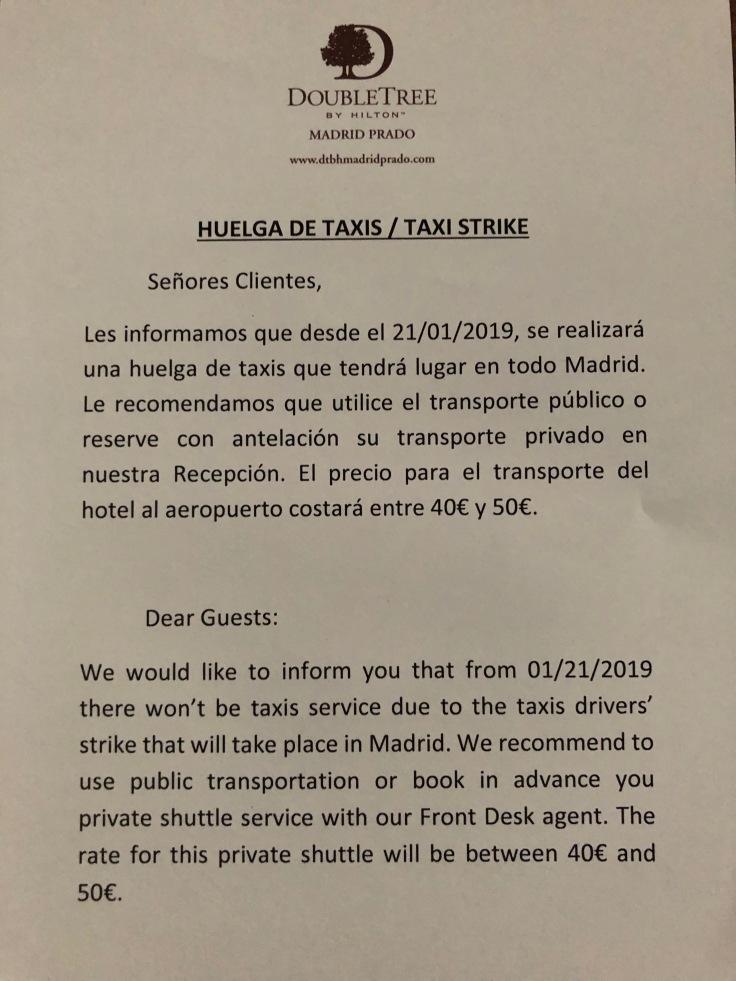 2019 hilton doubletree madrid 06 taxi notice
