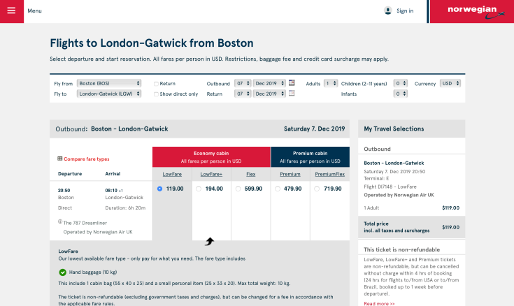 2019 Norwegian Air Booking 03 Fare Selection