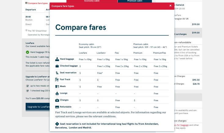 2019 Norwegian Air Booking 03.5 Fare Compare