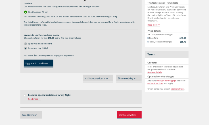2019 Norwegian Air Booking 04 Fare Upgrade