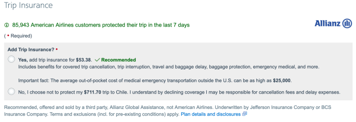 AA Trip Insurance