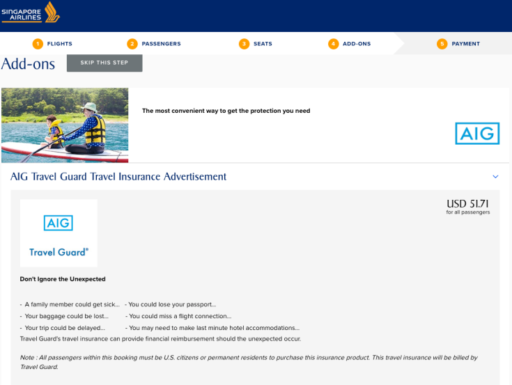 Singapore Airlines Trip Insurance