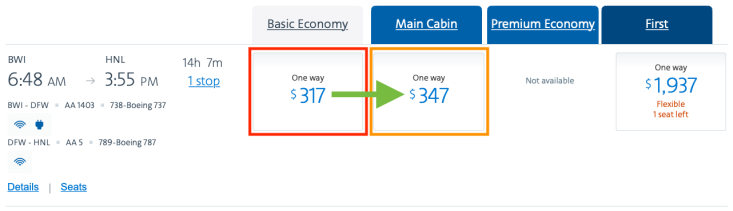 What is Basic Economy AA Booking Page Comparison
