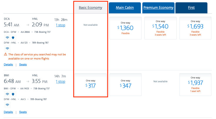 What is Basic Economy AA Booking Page