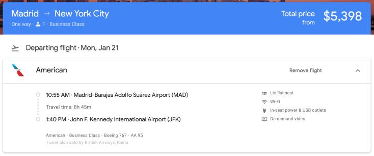 2019 american 767 business google flights