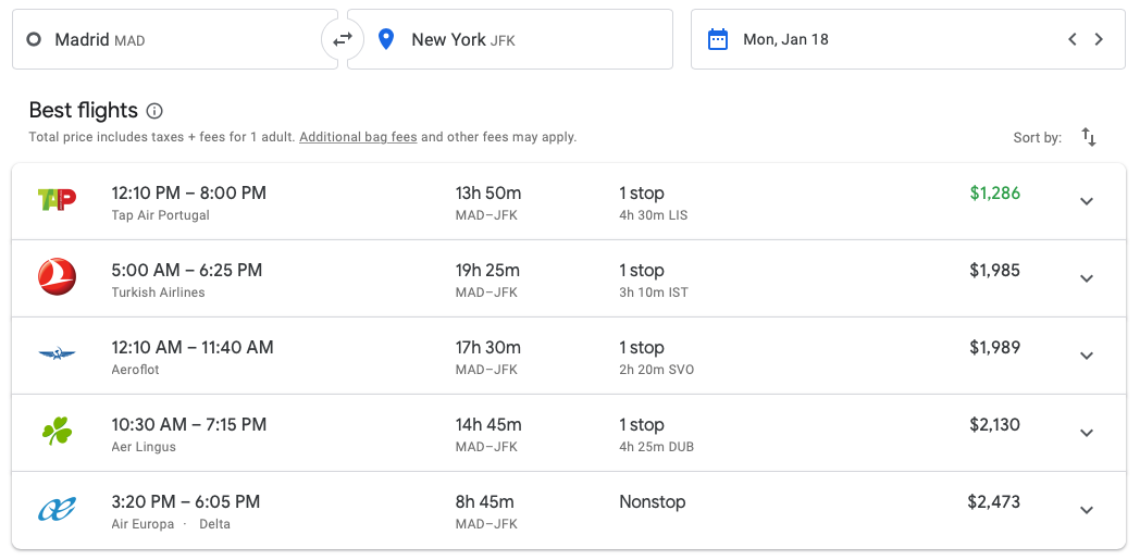 2019 AA Business Class 767 00 google flights comparison