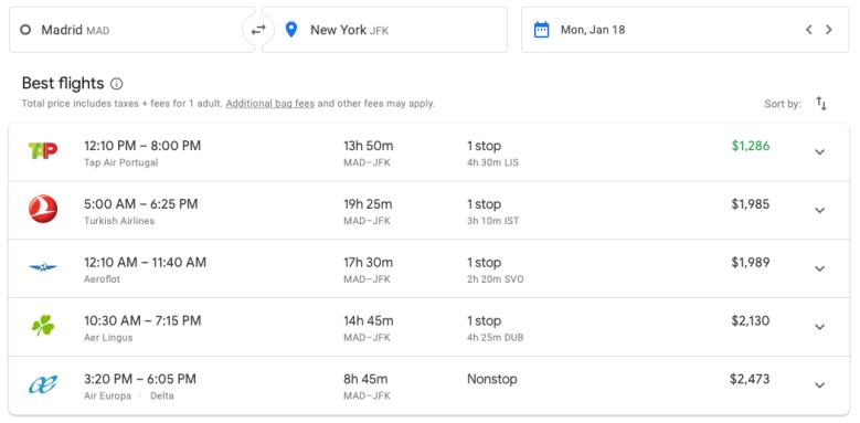 2019 AA Business Class 767 00 google flights comparison