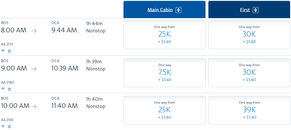 2020 american airlines domestic first flight comparison points