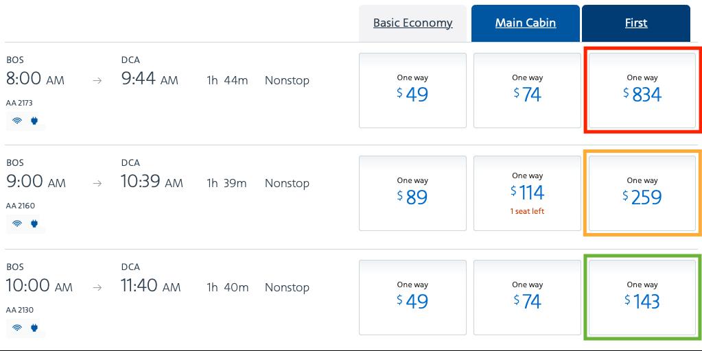 2020 american airlines domestic first flight comparison cash