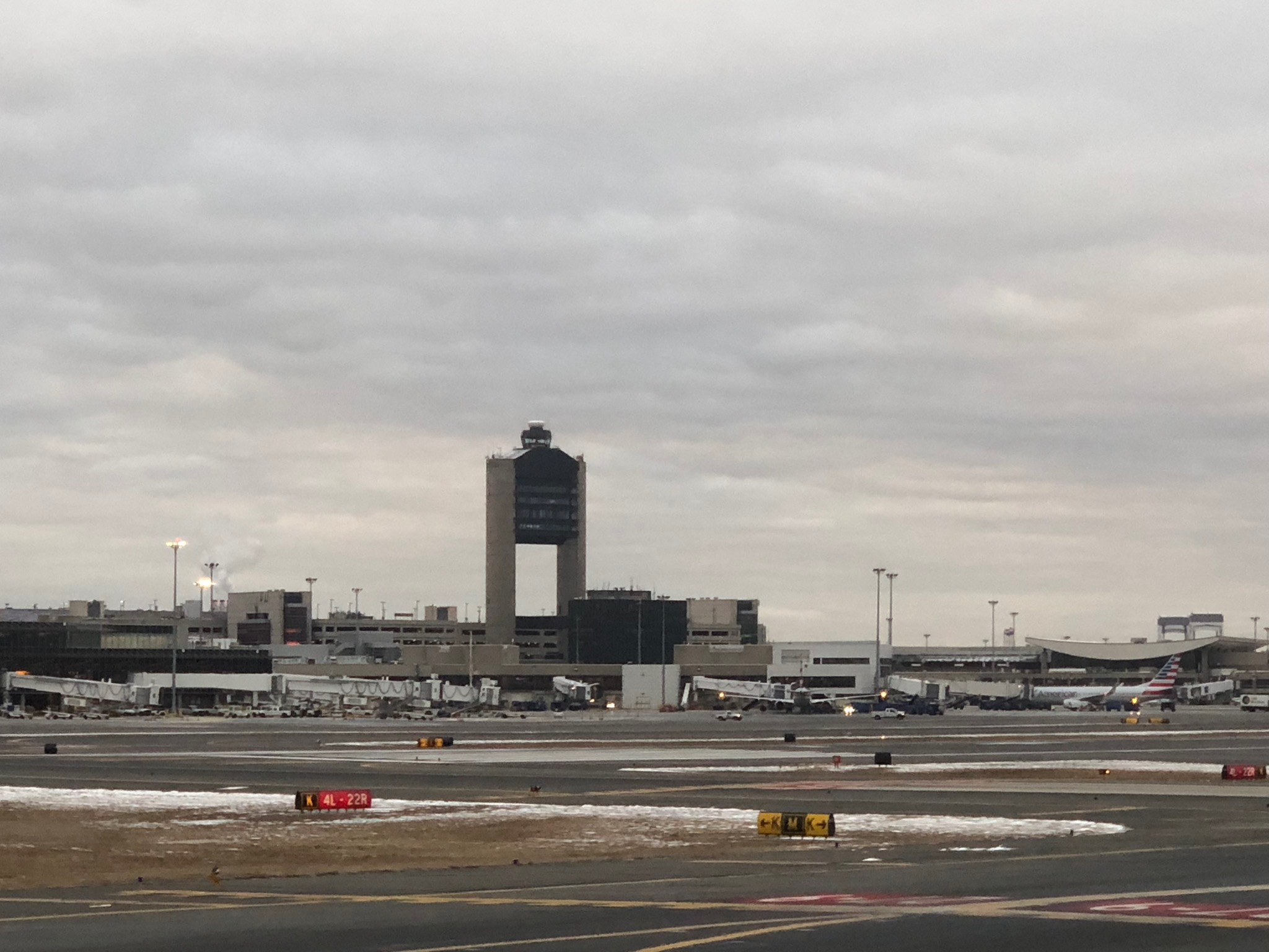2020 american airlines domestic first view boston logan control tower